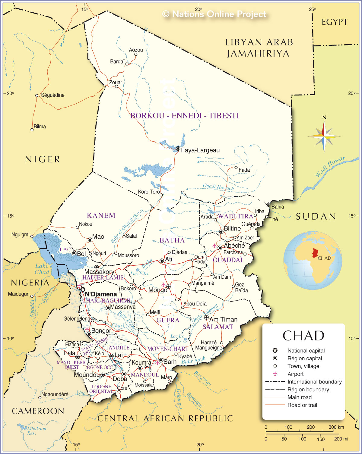 Political Map Of Chad Nations Online Project - Chad map