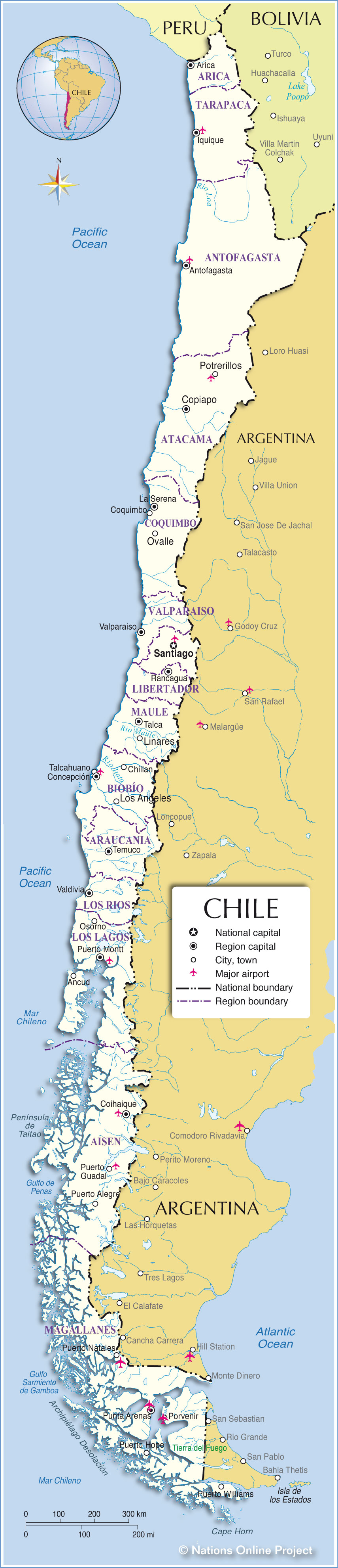 Administrative Map of Chile Nations Online Project