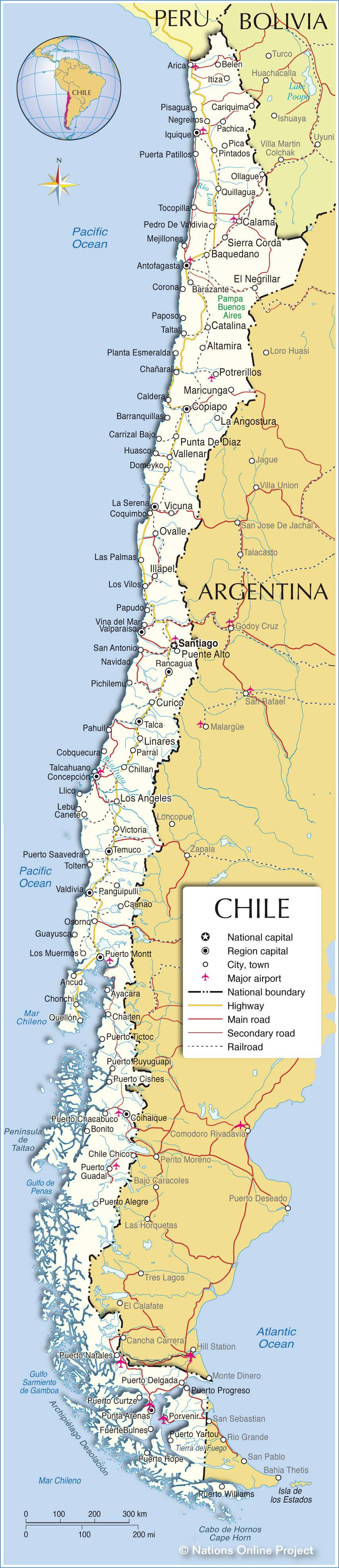 Political Map Of Chile Nations Online Project - Map of chile