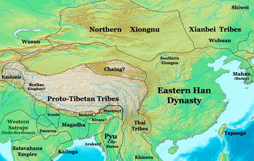 map of the eastern han dynasty china 100 ad nations online project