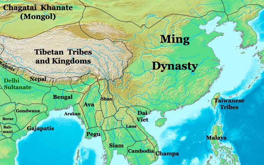 Ming Dynasty Map, China, 1400 AD - Nations Online Project