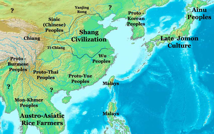 Shang Dynasty Map, China 1300 BC - Nations Online Project