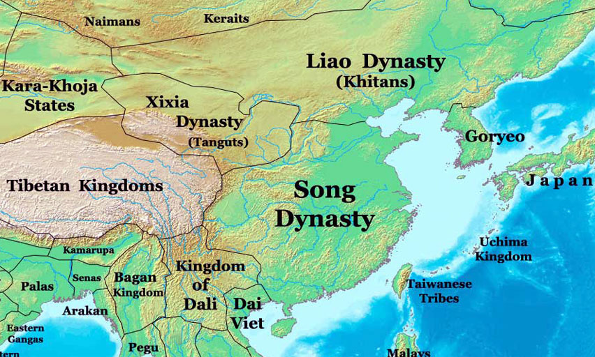 Song dynasty map china 1000 ad nations online project map is showing the geographical extension of the song dynasty the liao dynasty also known as the khitan empire and the tangut empire of western xia sciox Image collections