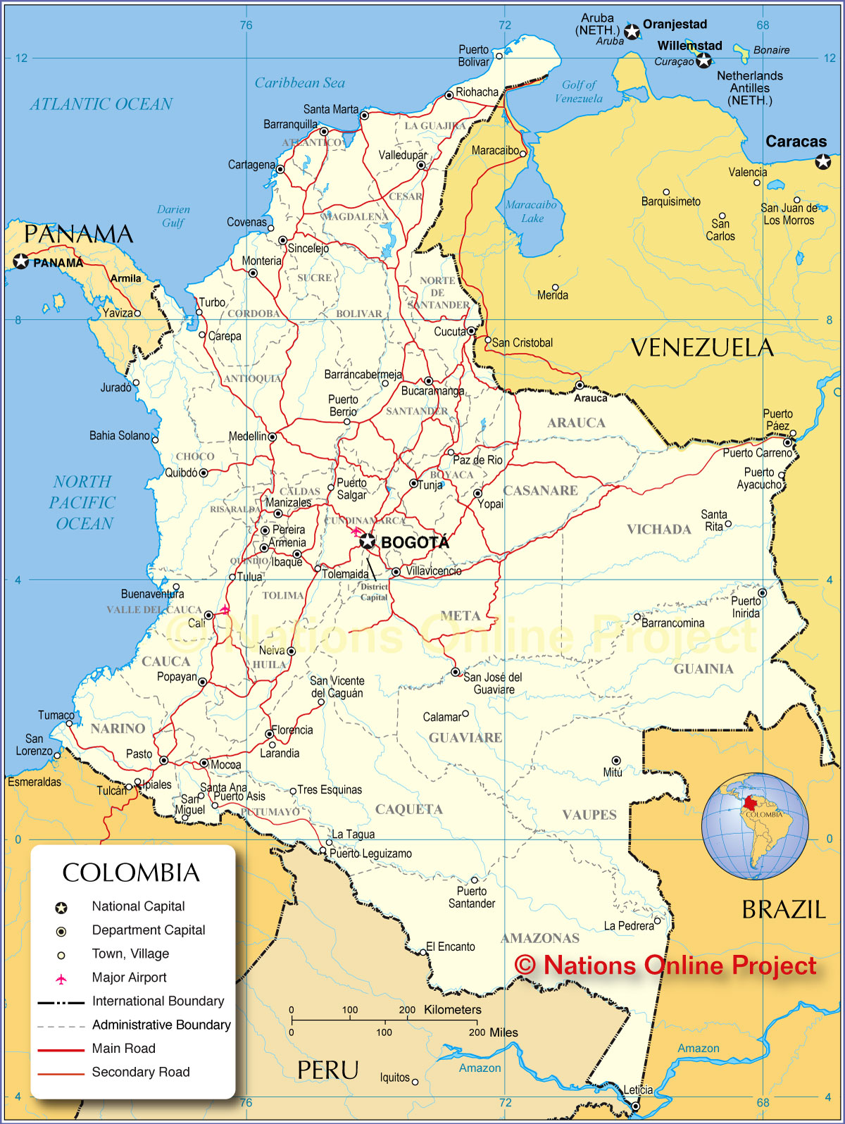 the map of columbia Map Of Colombia Nations Online Project the map of columbia