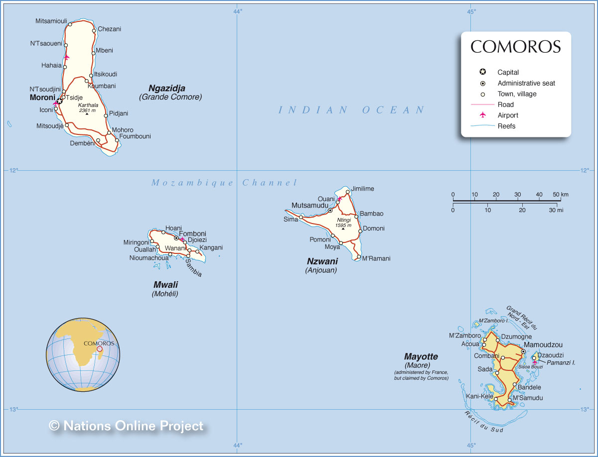 Administrative Map Of Comoros Nations Online Project - Seychelles interactive map