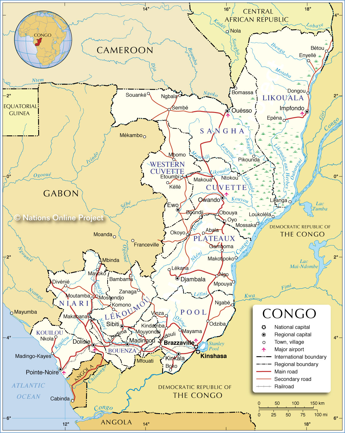 Administrative Map of Republic of the Congo 1200 pixel - Nations ...