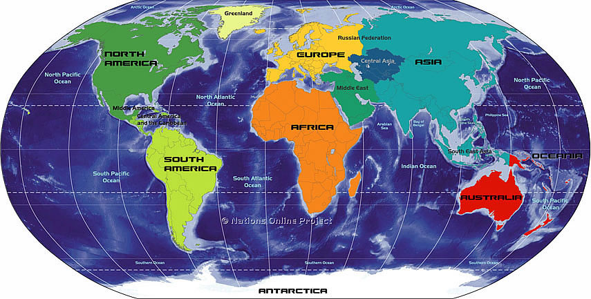 Map of the Continents of the World, Africa, Antarctica, Asia