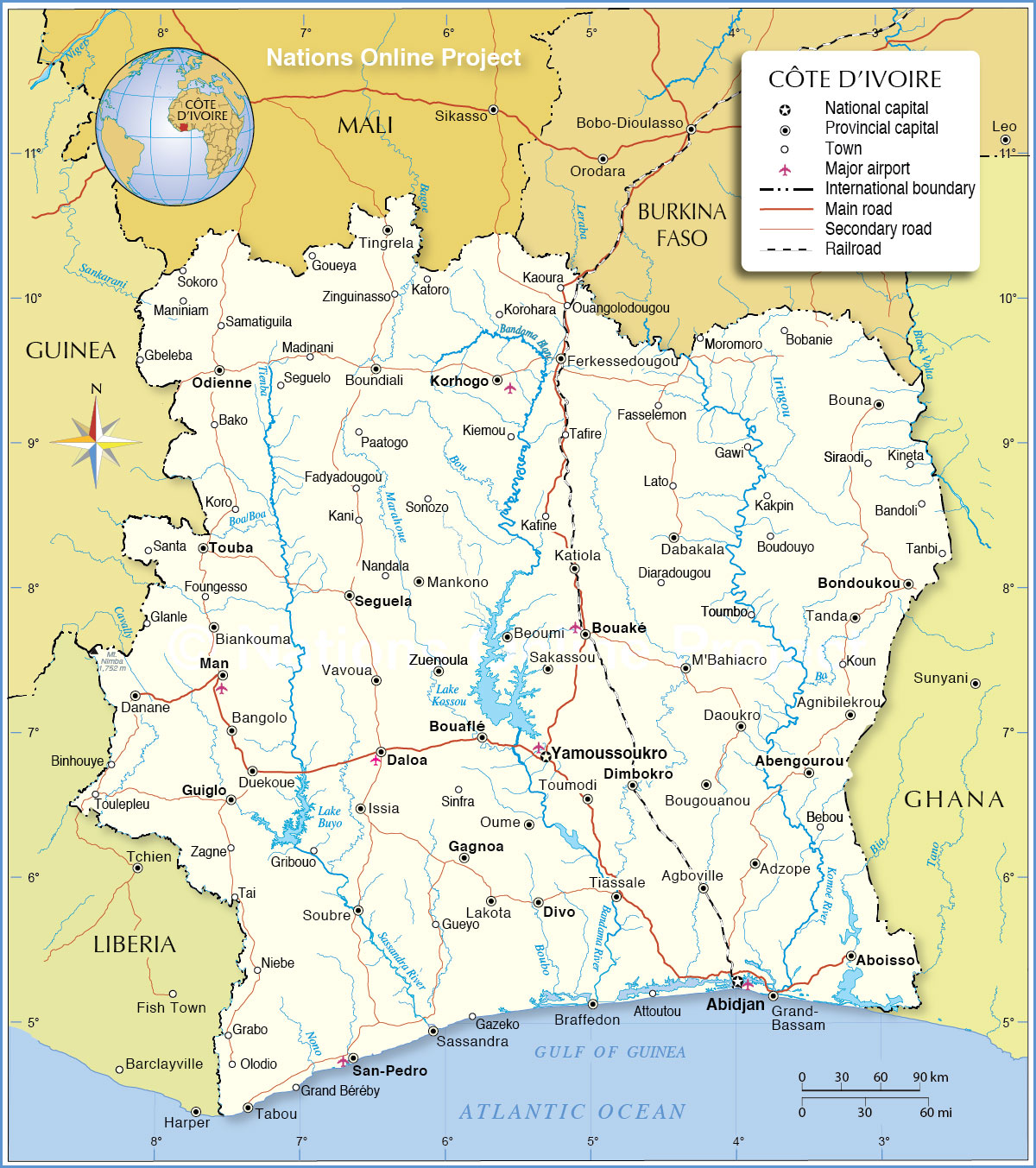 Political Map of Cte dIvoire Ivory Coast Nations Online Project