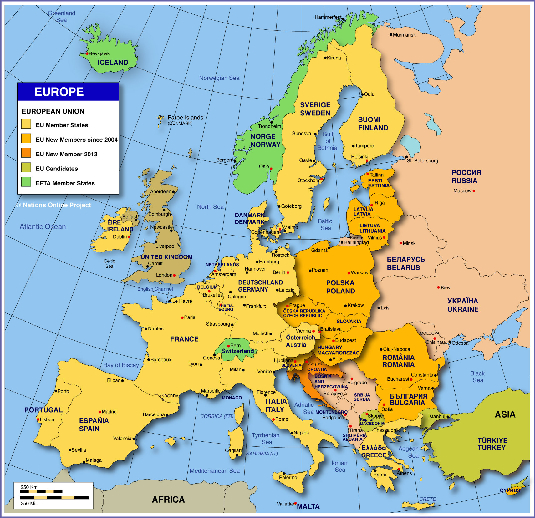 show map of europe with all countries Map Of Europe Member States Of The Eu Nations Online Project
