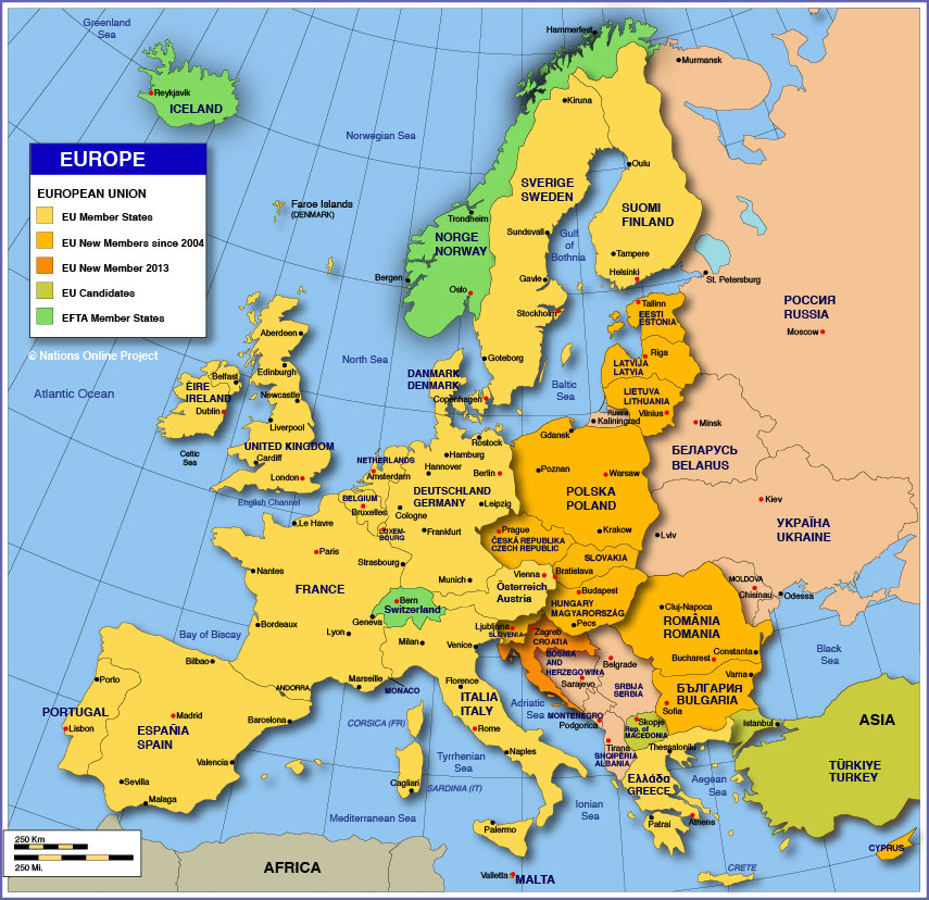 map of denmark europe. Political Map of Europe Member States of the European Union:
