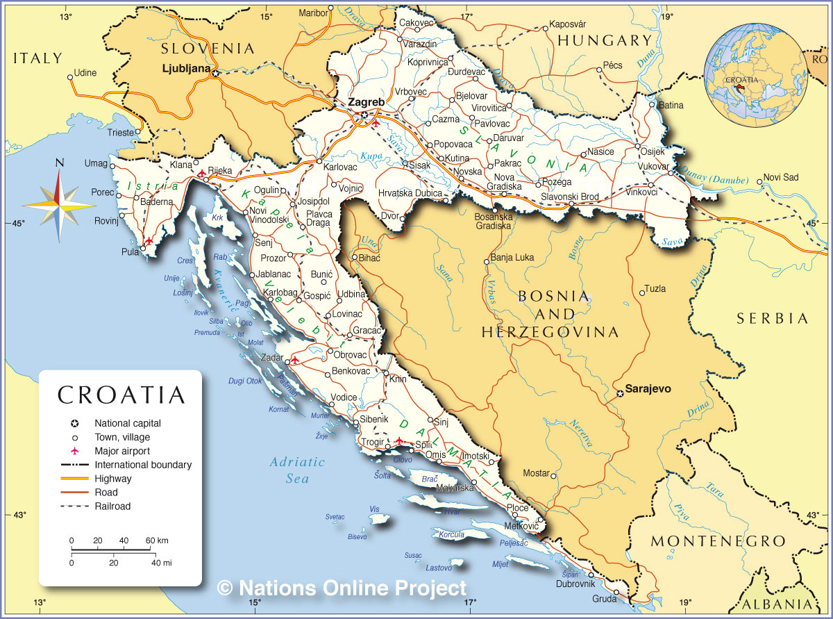 Political Map of Croatia Nations Online Project