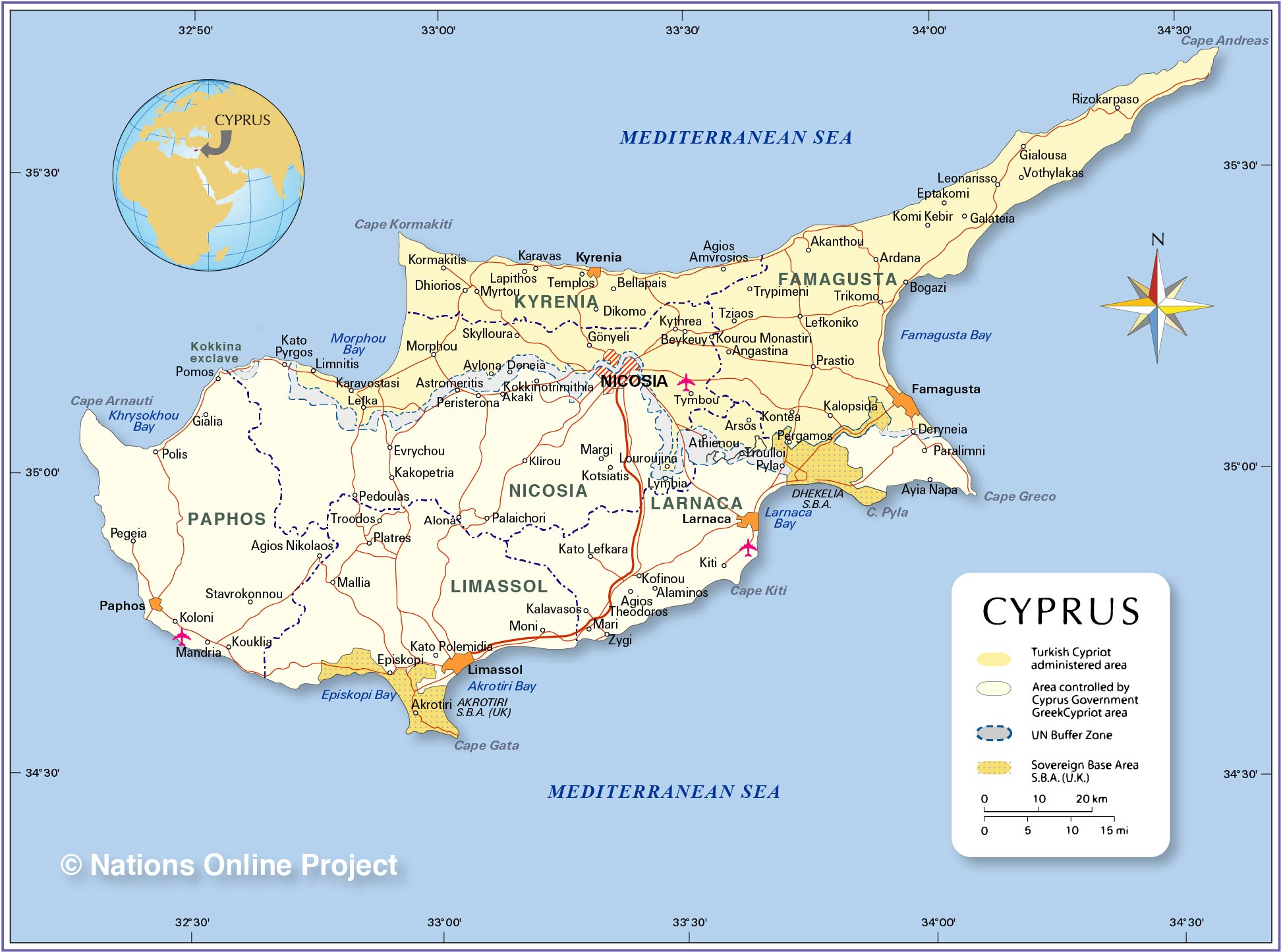 Political Map of Cyprus  Nations Online Project