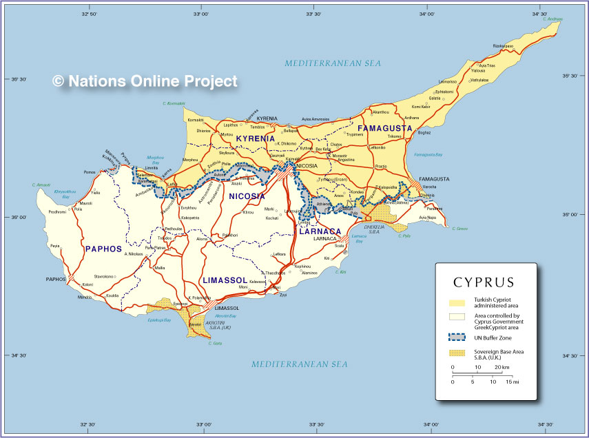 Small Map of Cyprus Nations Online Project