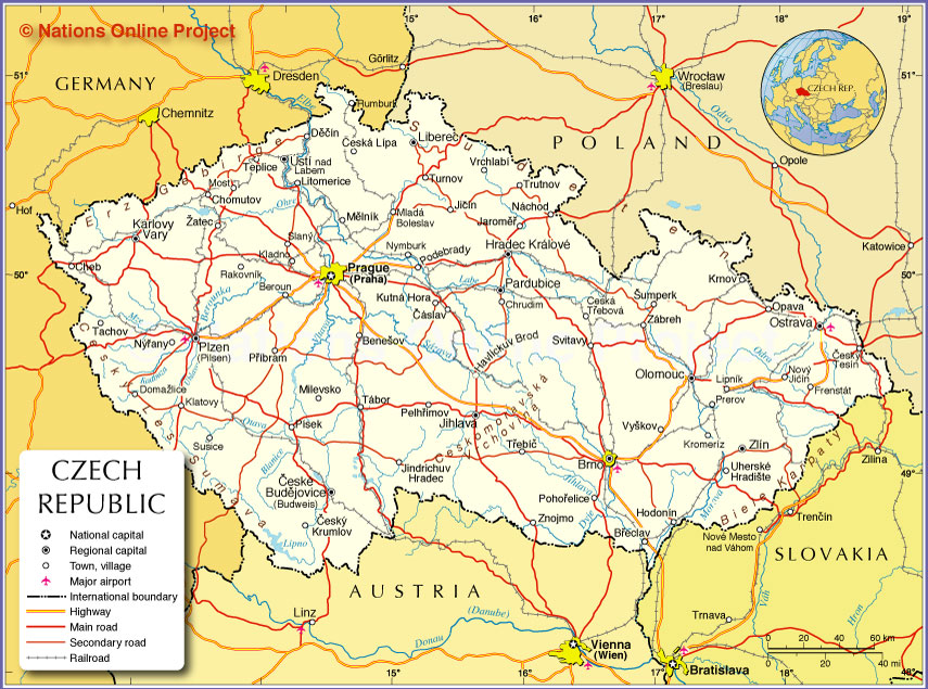 Small Map of Czech Republic - Nations Online Project