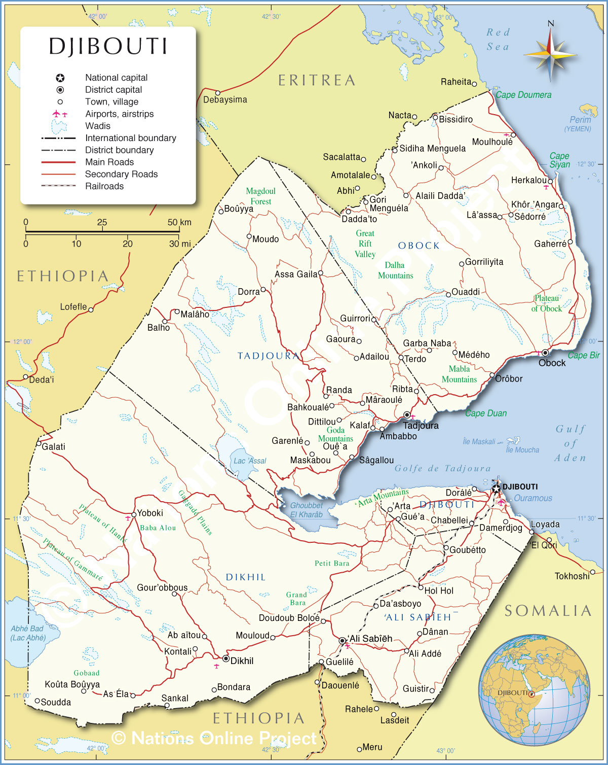 Djibouti On Africa Map.Political Map Of Djibouti 1200 Pixel Nations Online Project