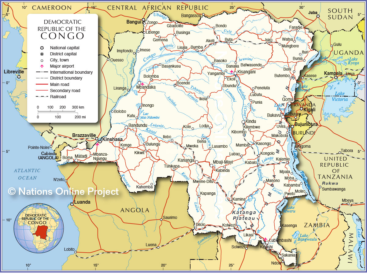 Congo Kinshasa Map Africa.Political Map Of Democratic Republic Of The Congo Nations