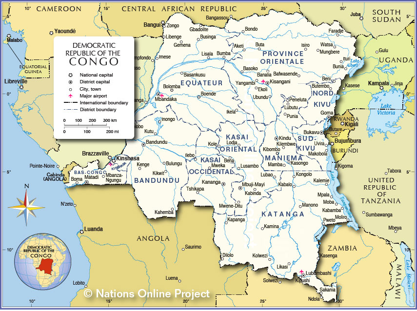 administrative map of democratic republic of the congo nations