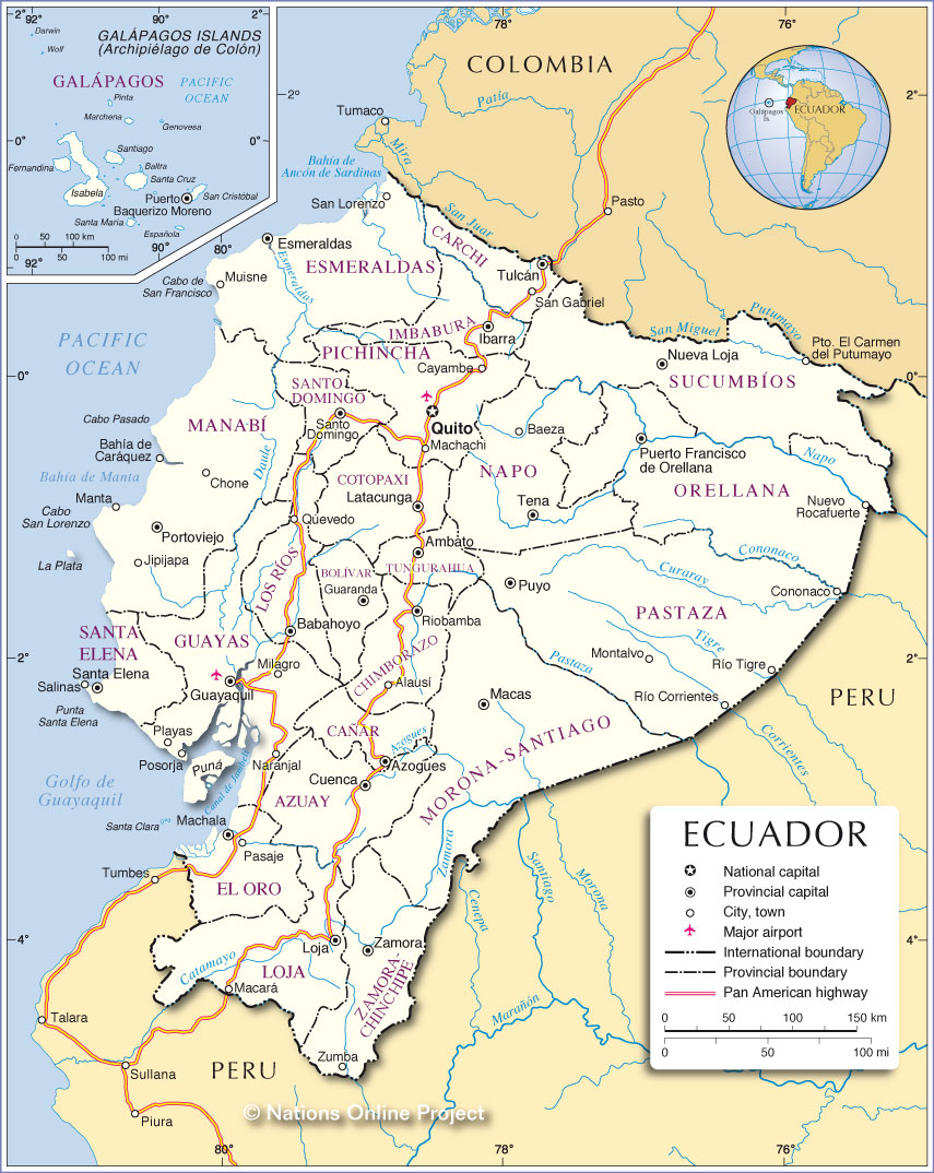Administrative Map Of Ecuador Nations Online Project - Ecuador provinces map