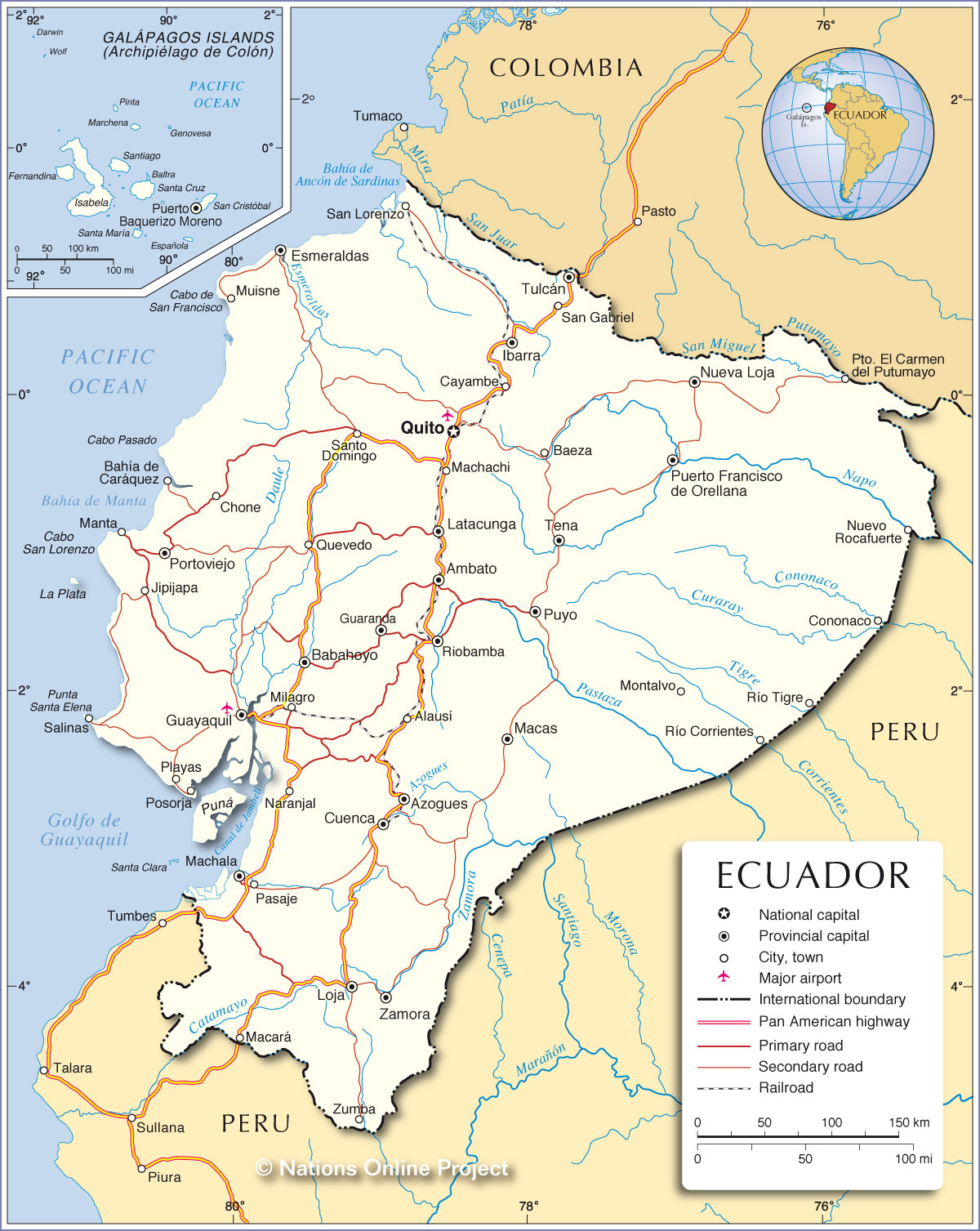 Political Map Of Ecuador Nations Online Project - Map of ecuador world