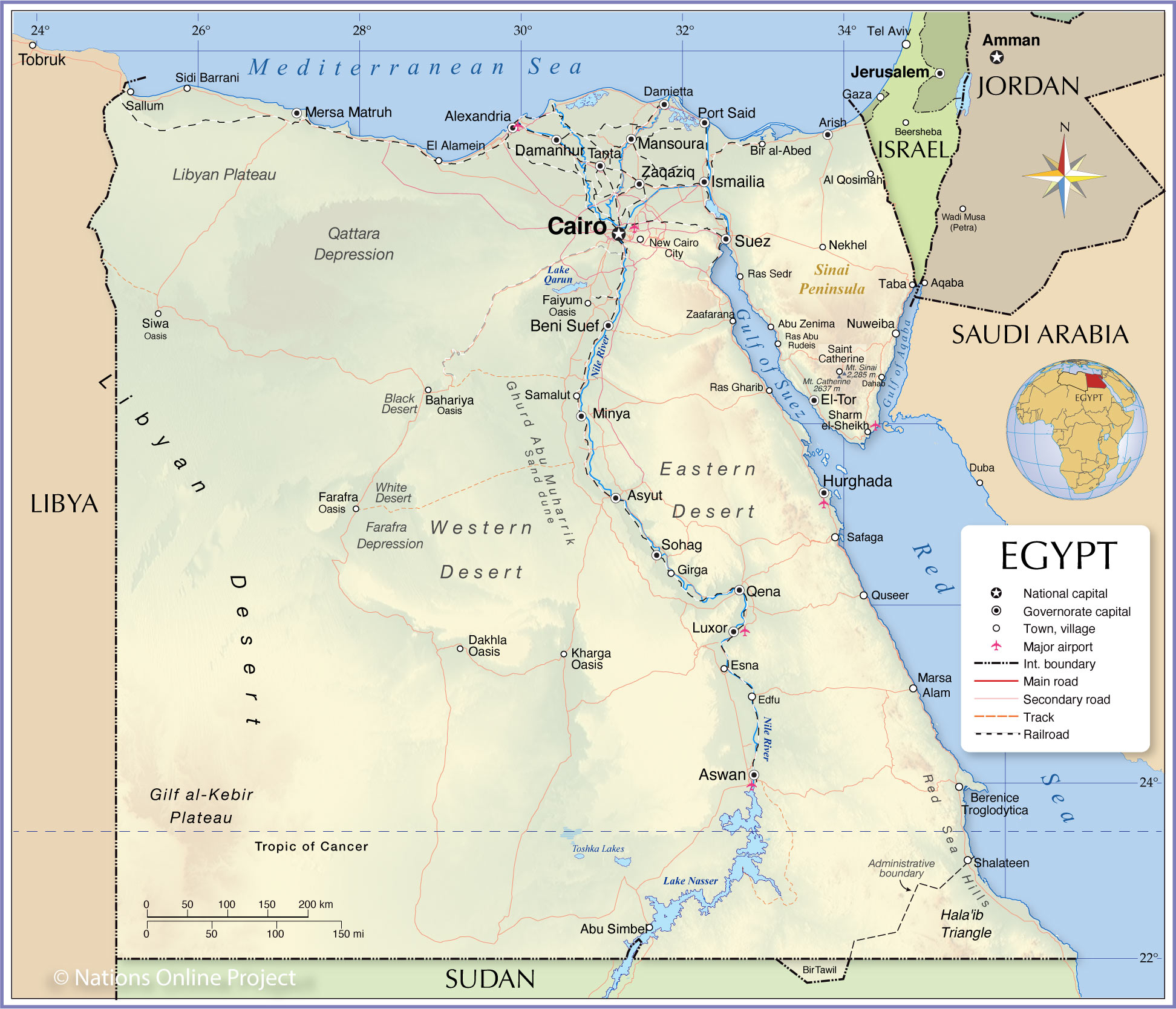 Political Map Of Egypt Nations Online Project - Map of egypt hd