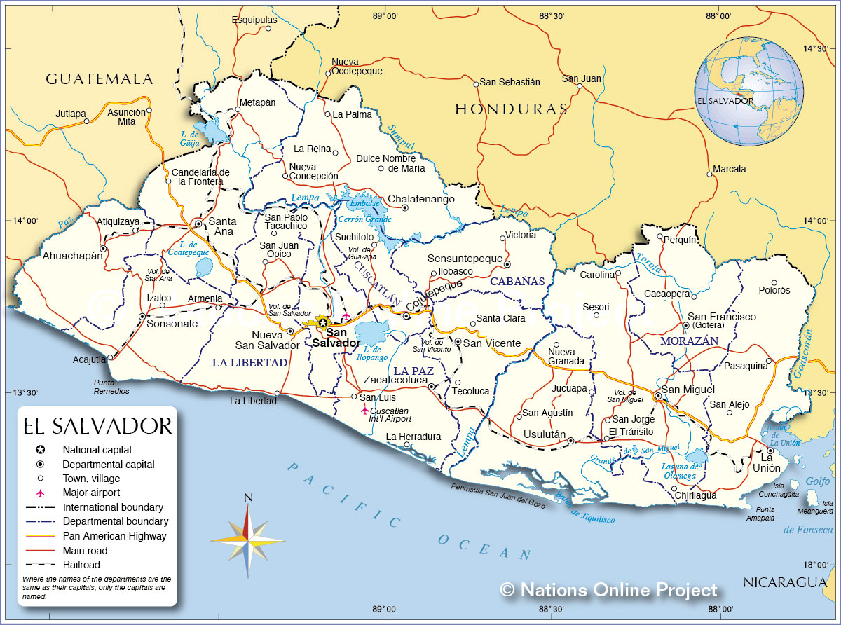 Political Map Of El Salvador Nations Online Project - Departments map of guatemala