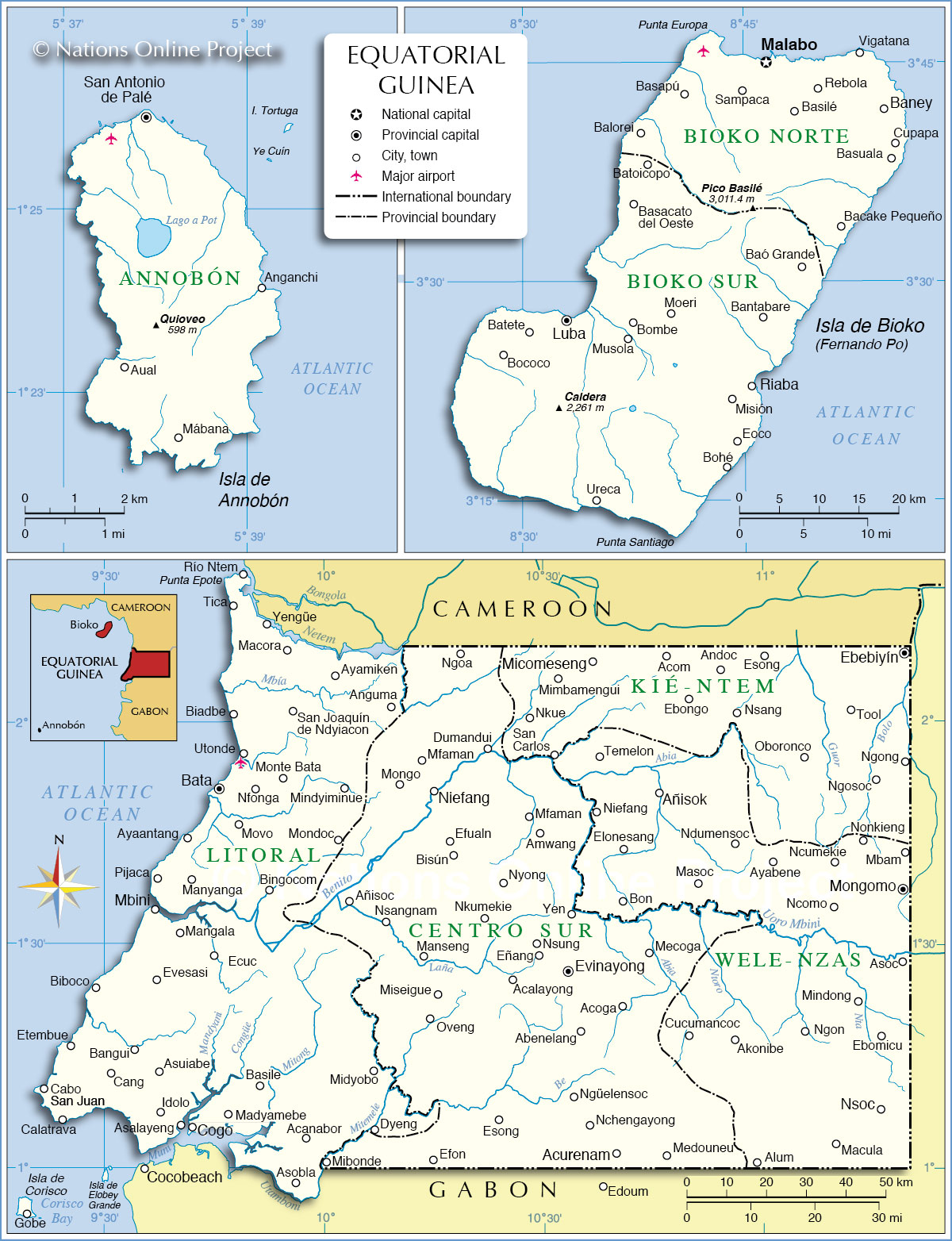 Administrative Map of Equatorial Guinea 1200 pixel - Nations Online