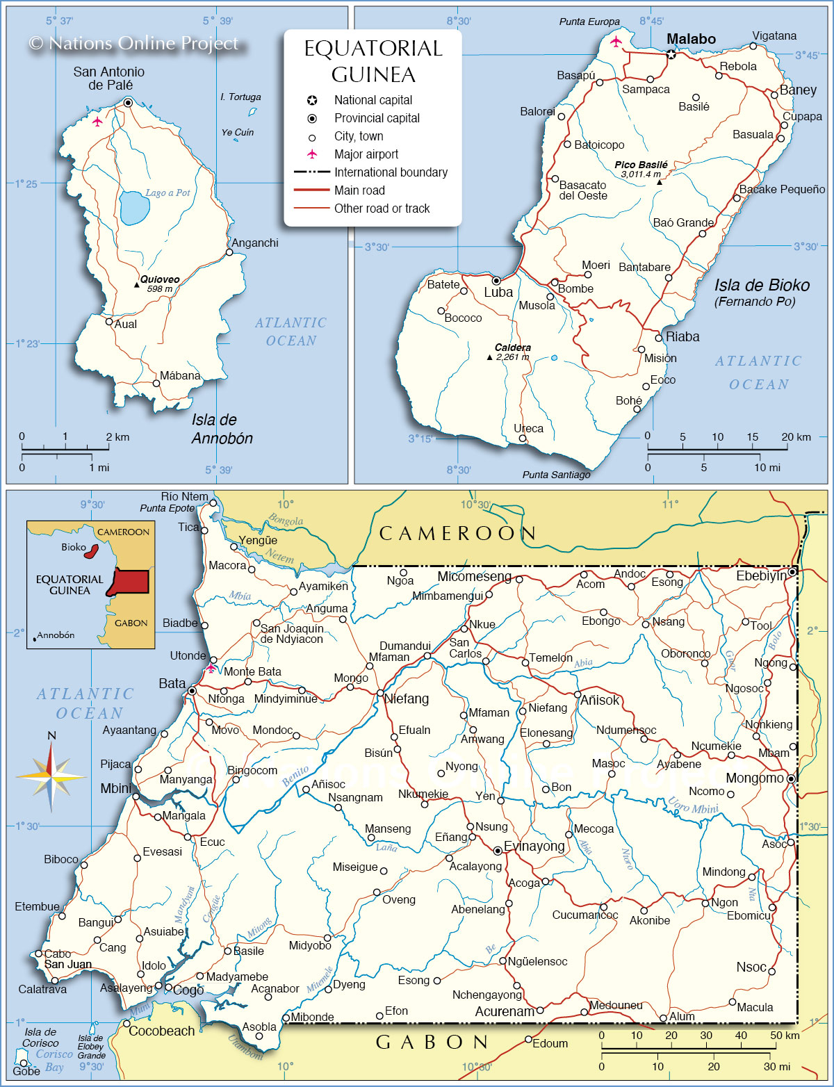 Political Map of Equatorial Guinea - Nations Online Project