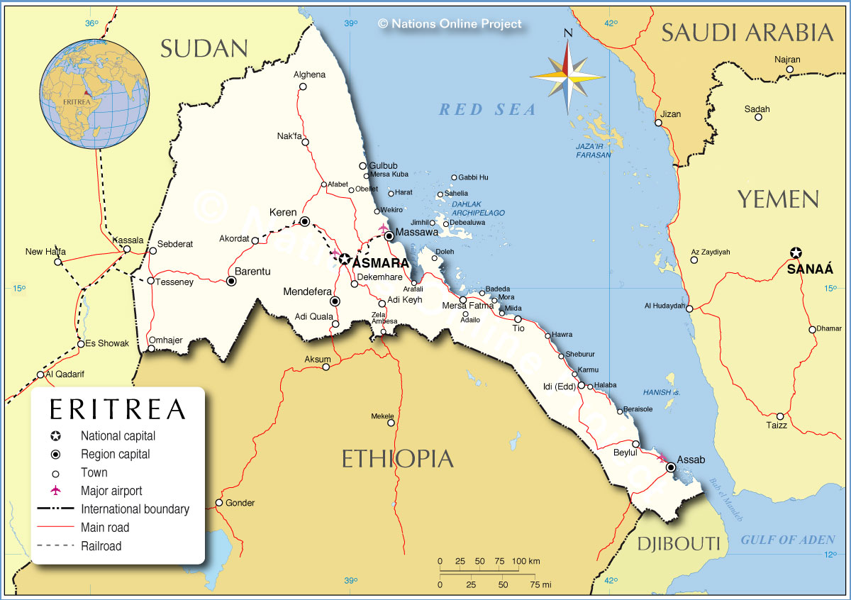 Political map of eritrea nations online project political map of eritrea gumiabroncs Images