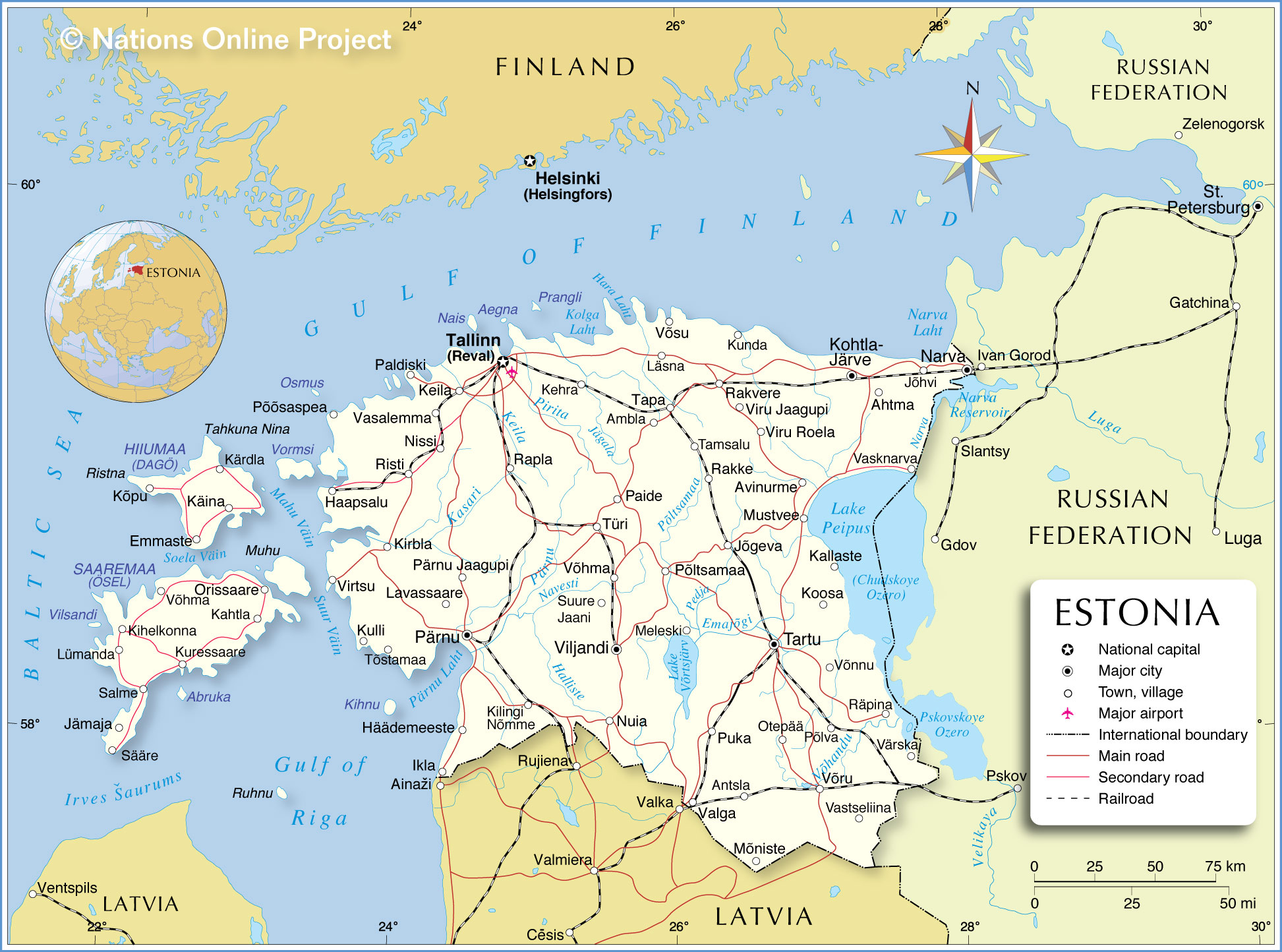 Political Map of Estonia Nations Online Project