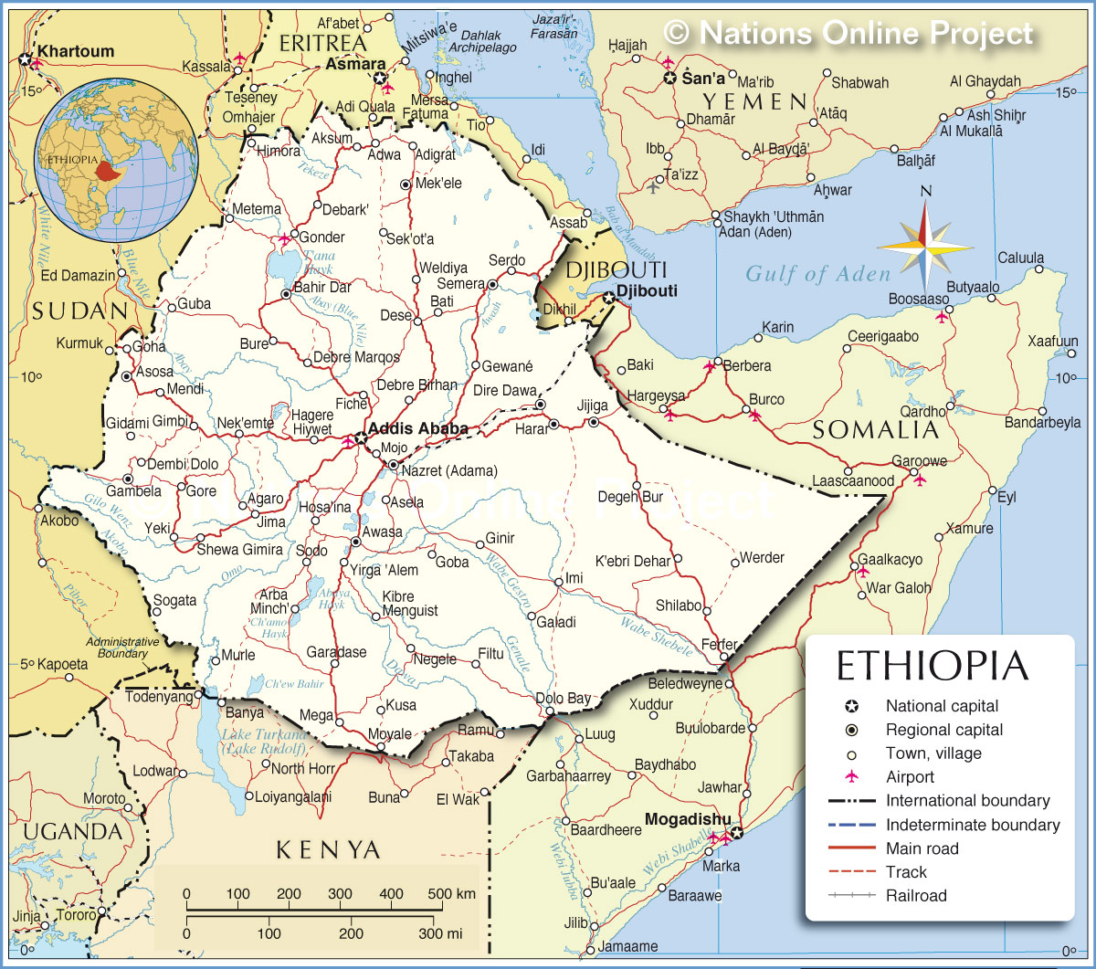 Political map of ethiopia nations online project political map of ethiopia gumiabroncs Choice Image