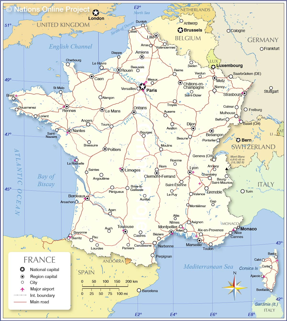 The Map Of France With The City.Political Map Of France Nations Online Project