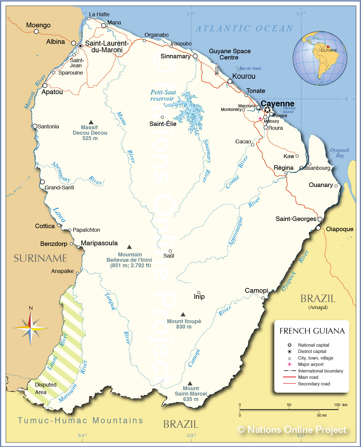 Political map of french guiana nations online project political map of french guiana gumiabroncs Images