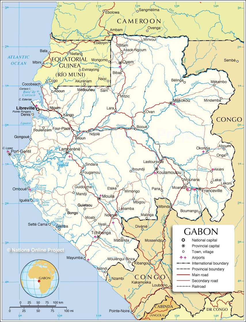 Political map of gabonese republic nations online project political map of gabon sciox Gallery