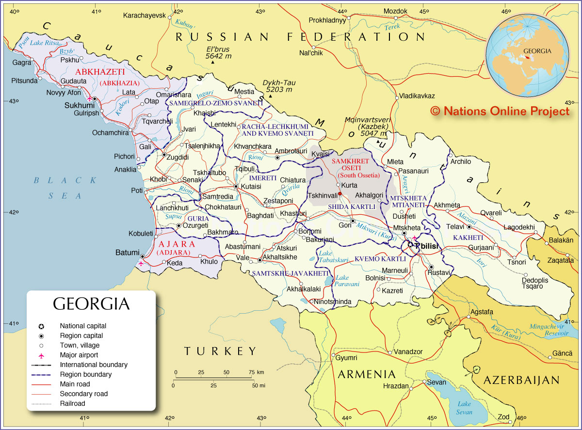 Political Map Of Georgia Nations Online Project - South ossetia map