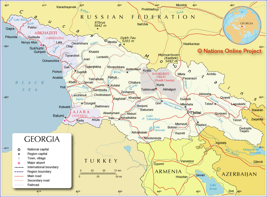 Map Of Georgia Nations Online Project - Maps of georgia