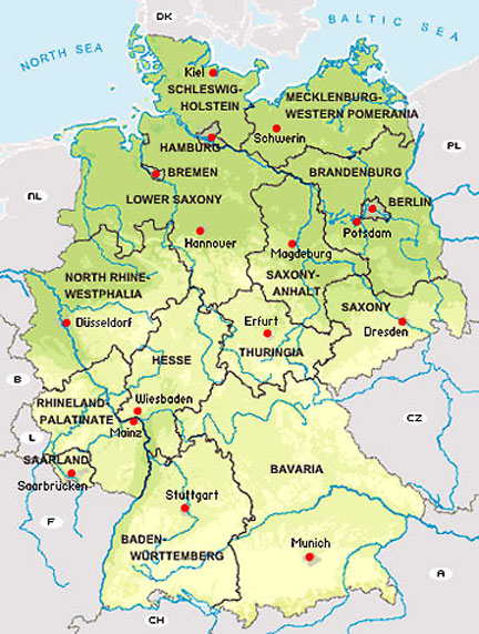 map of federal states of germany
