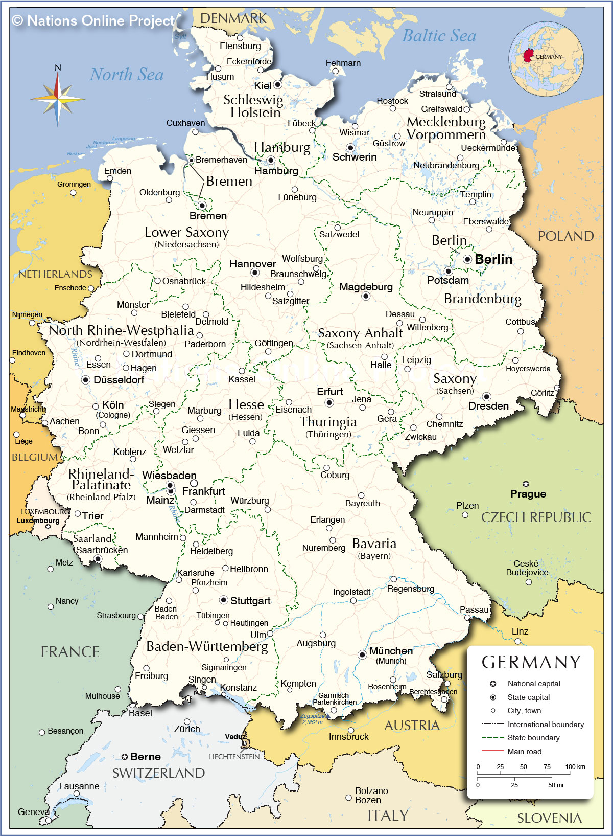 Map Of Germany France.Administrative Map Of Germany Nations Online Project