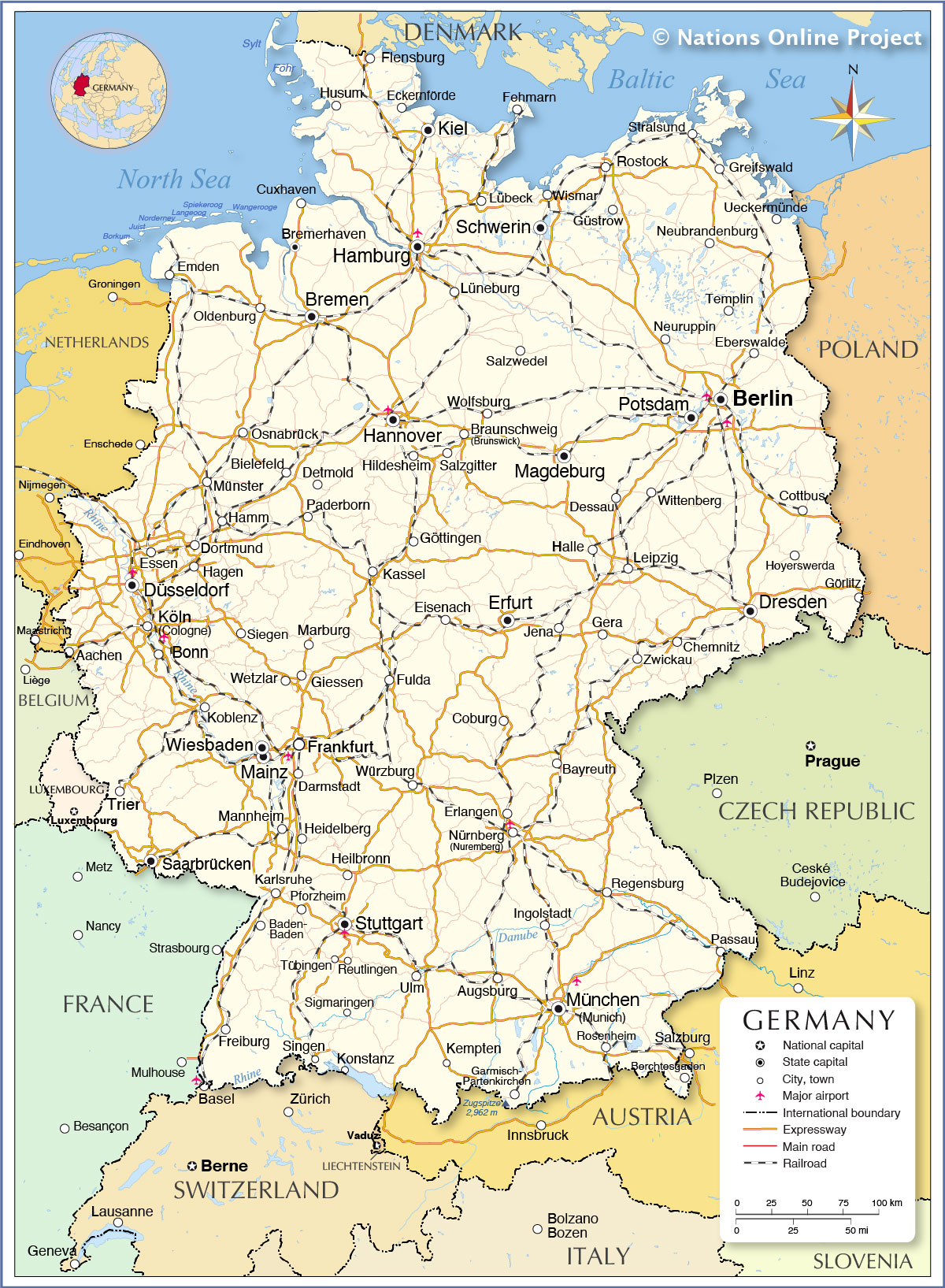 Which countries borders Germany in the east, west, south and north 3