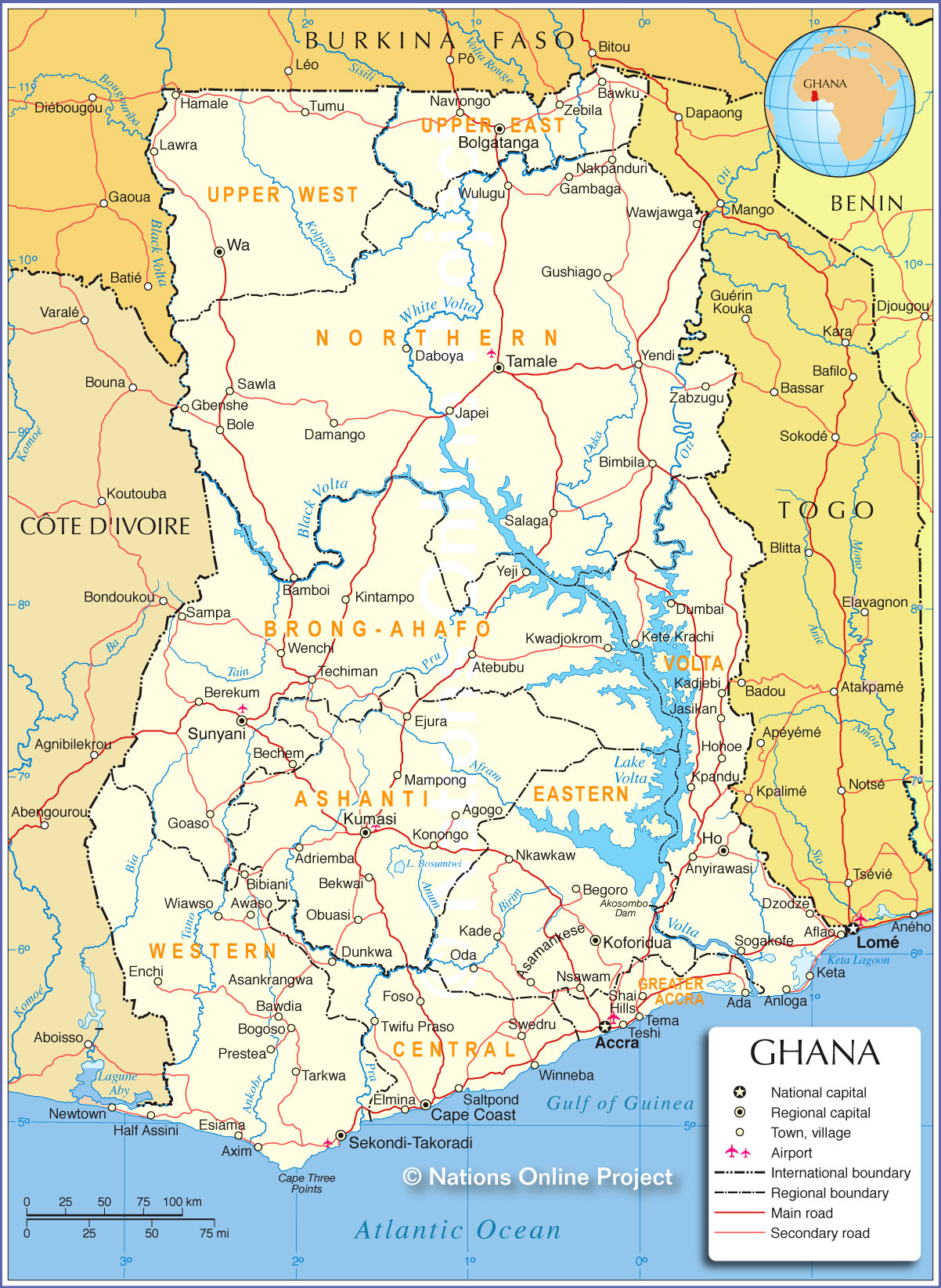Lake Volta Africa Map.Political Map Of Ghana Nations Online Project