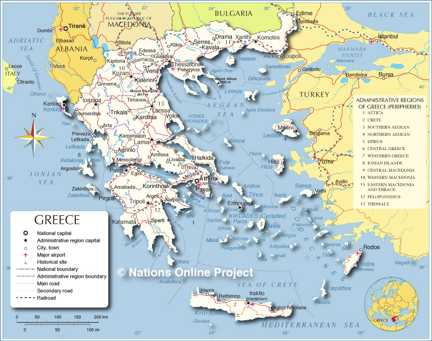 Small map of greece nations online project political map of greece gumiabroncs Gallery