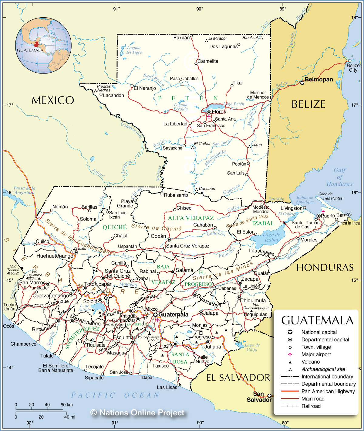Administrative Map Of Guatemala Nations Online Project - Departments map of guatemala