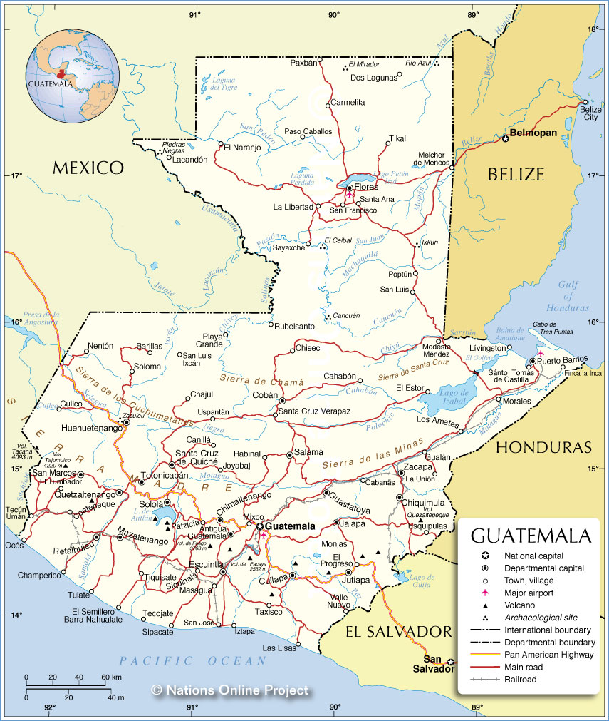 Political map of guatemala nations online project political map of guatemala gumiabroncs Gallery