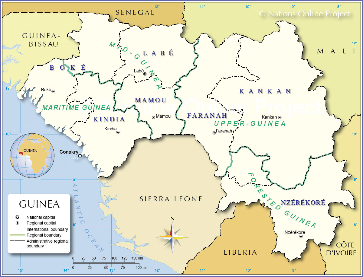 Administrative Map Of Guinea Nations Online Project - Us map divided into 4 regions