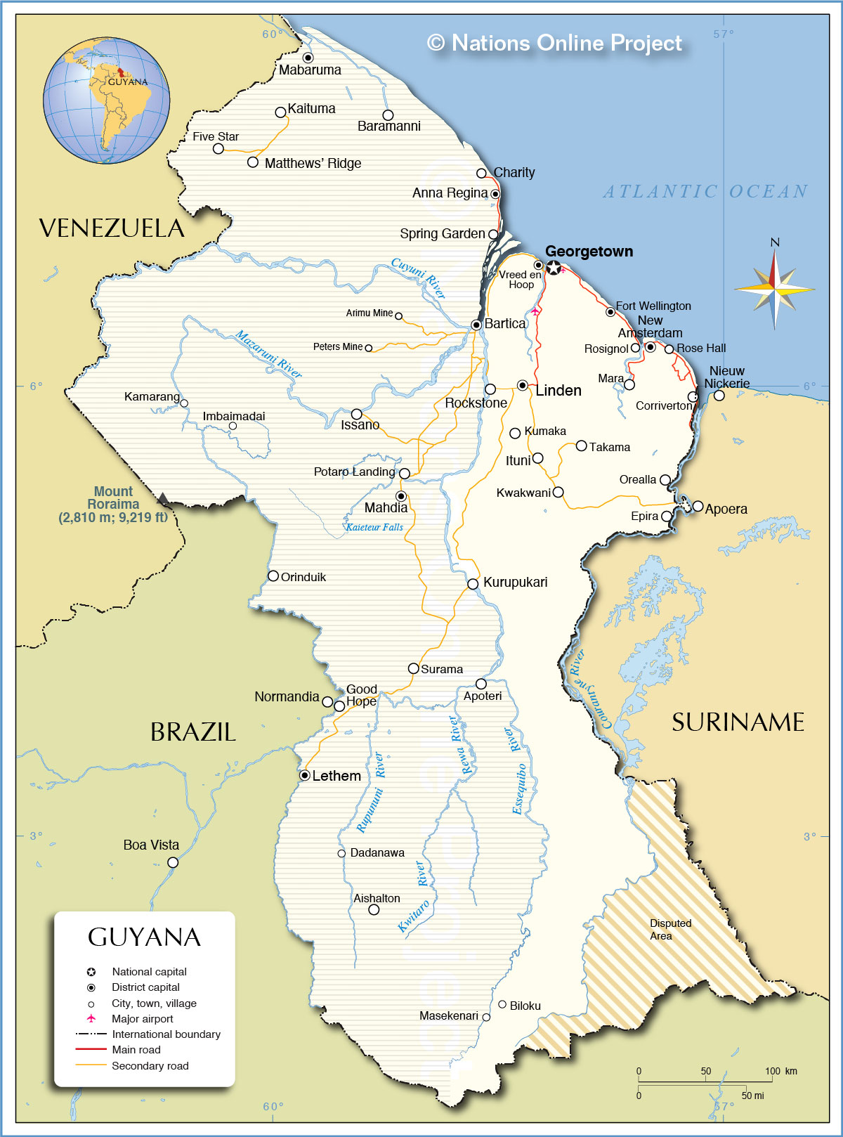 Political Map of Guyana - Nations Online Project