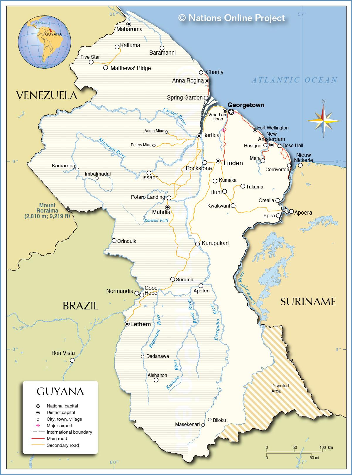 Political Map of Guyana - Nations Online Project on map of isla margarita, map of campinas, map of san pedro de atacama, map of bissau, map of guatemala, map of regions of brazil, map of culiacan, map of south of the border, map of san pedro de macoris, map of asunción, map of ciudad del este, map of pereira, map of san pedro la laguna, map of central america, map of ilhabela, map of antarctic sound, map of sunset boulevard, map of la serena, map of honduras, map of san cristobal de las casas,