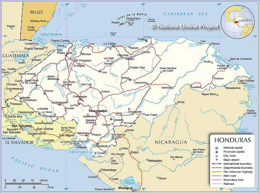 Political Map Of Honduras Nations Online Project - Hondurus map