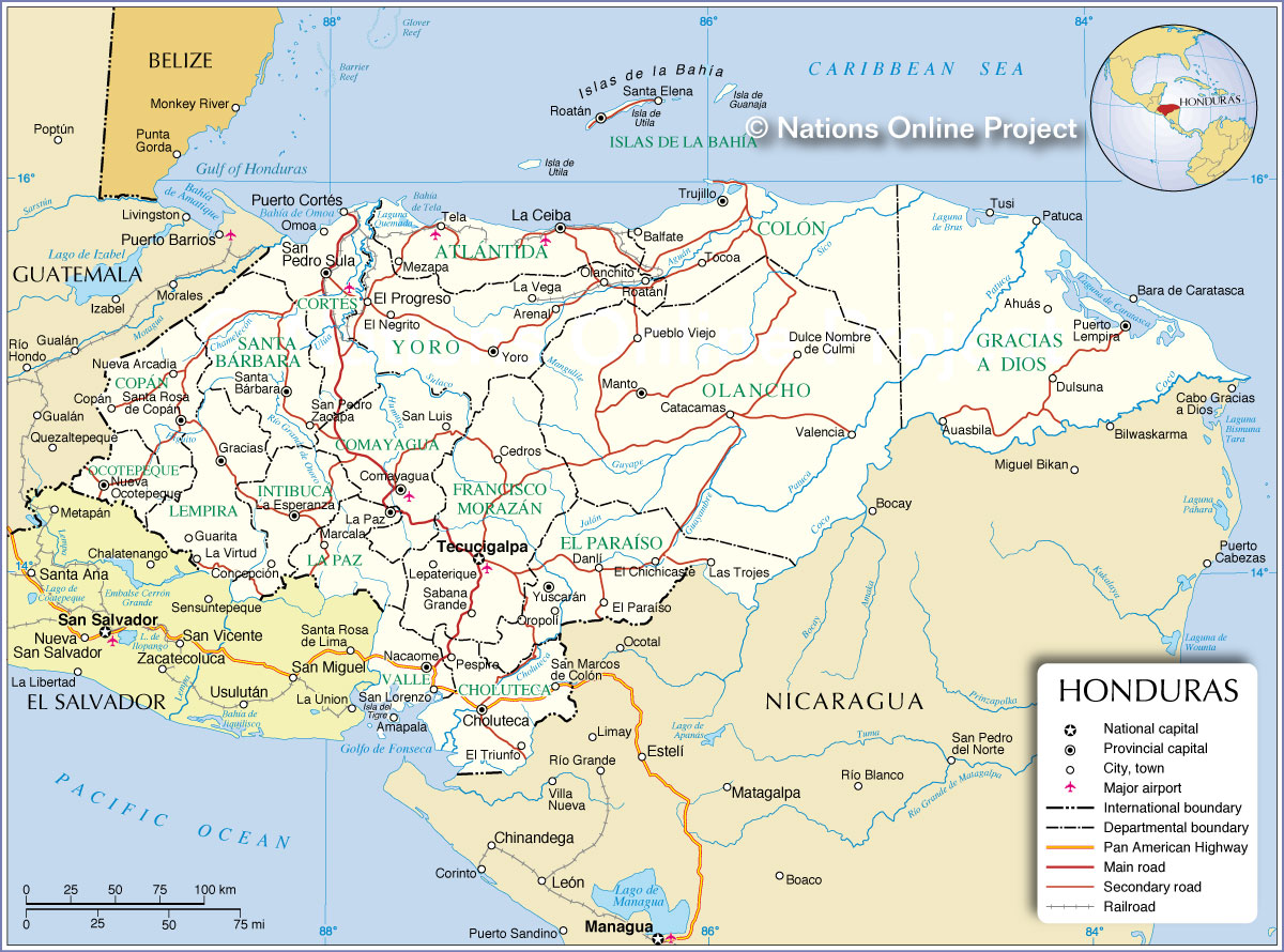 Administrative Map Of Honduras Nations Online Project - Departments map of guatemala