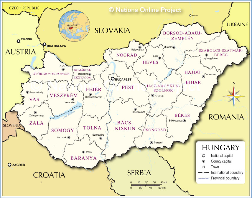 Administrative Map of Hungary Nations Online Project
