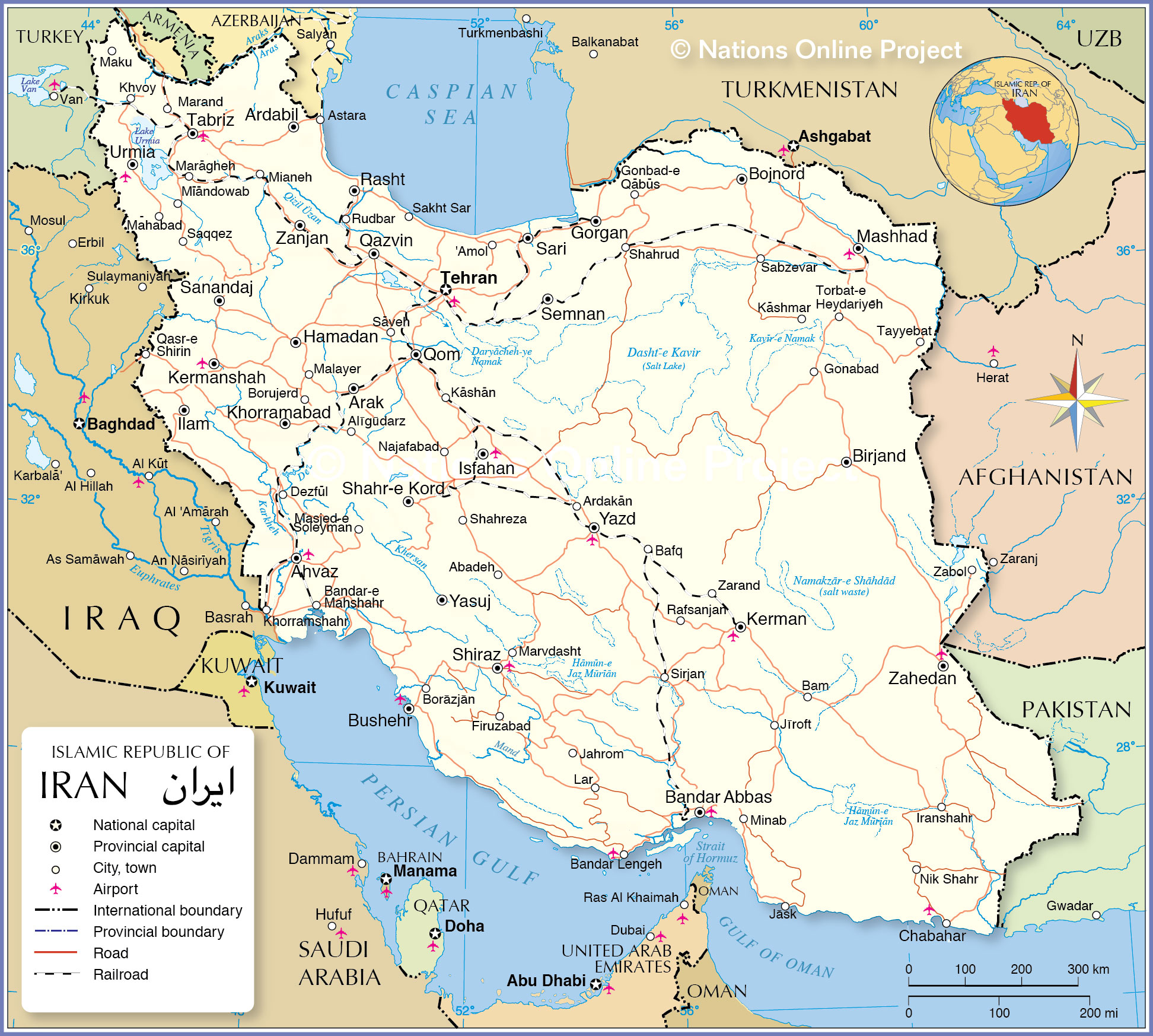 Iran Weather Map.Political Map Of Iran Nations Online Project