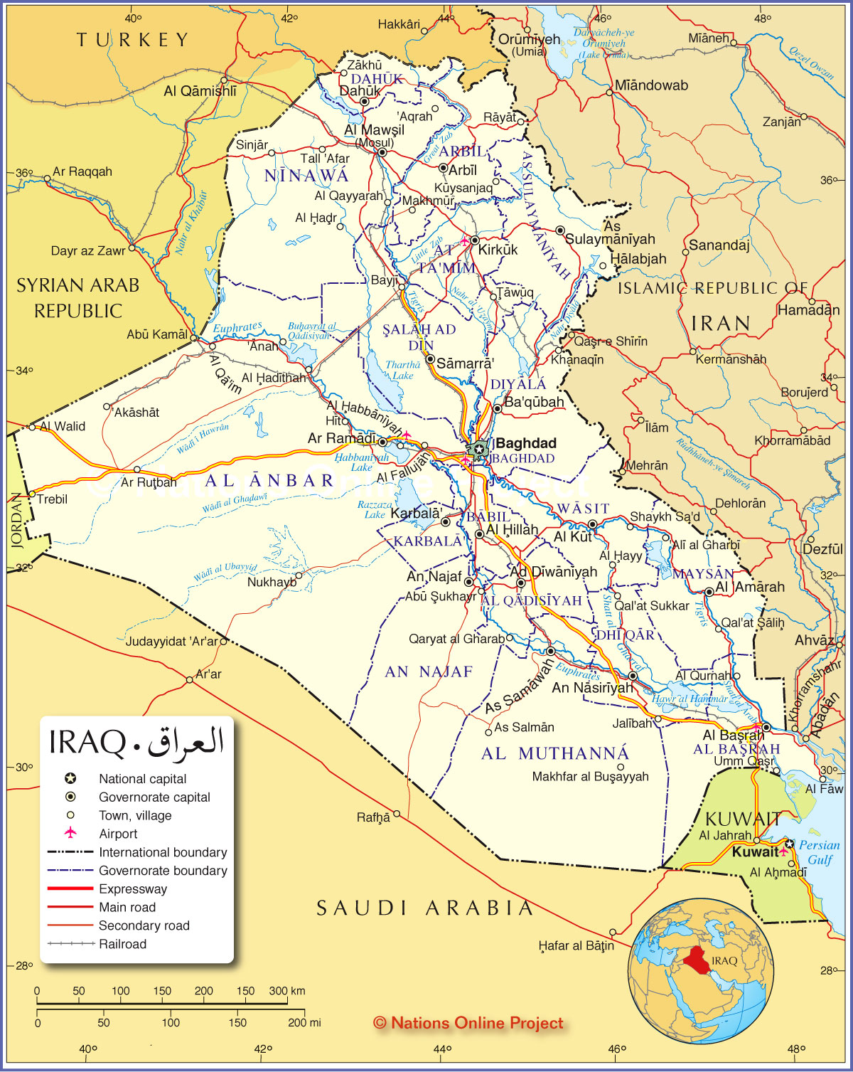 Political Map of Iraq - Nations Online Project MAP OF IRAQ